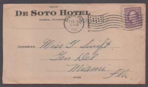 **US 20th Century Advertising Cover, Tampa, FL, 2/19/1918, De Soto Hotel