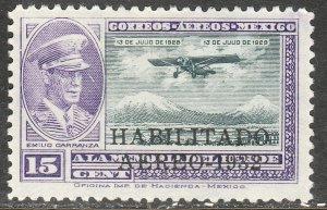 MEXICO C42, CAPT. E. CARRANZA HABILITADO 1932.UNUSED, H OG. F. (681)