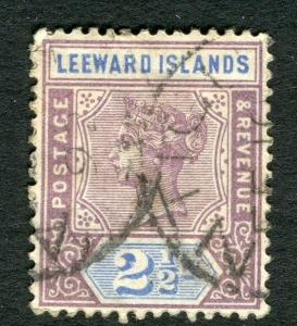 LEEWARD ISLANDS;  1890s early classic QV issue used 2.5d. value