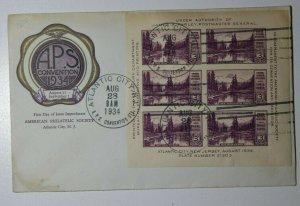 APS Convention Atlantic City NJ 1934 Sc# 750 Full Sheet Philatelic Expo Cachet