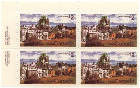 Canada - 1972 $2 Quebec Plate Block mint w. Variety #601ii