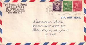 United States A.P.O.'s 1c Washington and 2c Adams Prexie with 3c NATO 1953 Ar...