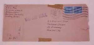 US   PREXY APO 806 ANTIGUA 1941 OCT 27 CENSORED COVER VIA ARMY BOMBER