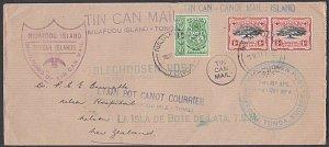 TONGA 1937 TIN CAN MAIL COVER ex Niuafo'ou to New Zealand...................J879