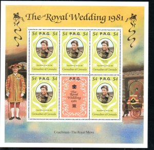 GRENADINES 1981 ROYAL WEDDING $4 M/SHEET WITH RPG OVERPRINT