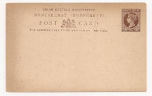 Montserrat QV postal card Mint light toning at edge Fn