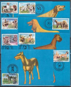 Romania, 1997 issue. 04/OCT/97. Various Dog cancels on 7 Max. Cards. ^