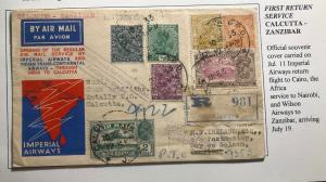 1933 Calcutta India First Return Flight Airmail Cover FFC To Zanzibar