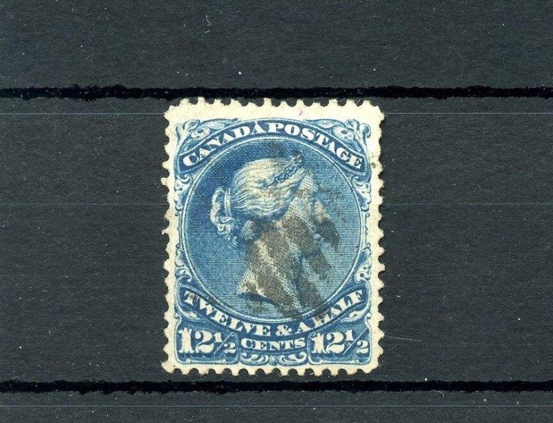 #28 Twelve & half cent 12 1/2c Very fine centerd DEEP BLUE Cat $200  used Canada