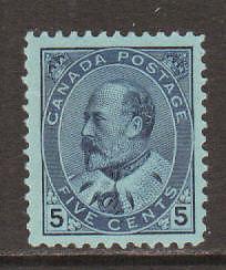 Canada Sc 91 MNH. 1903 5c blue on blue KEVII, expertly regummed, Scarce