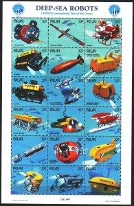 Palau. 1998. Small sheet 1280-97. Underwater vehicles. MNH.