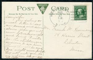 Postcard - Webhannet ME TO Clinton MA - AUG 17 1910 4a-BAR WELLS BEACH - S6417