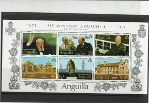 Anguilla 1974 Centenary Birth Sir Winston Churchill MNH Stamps Sheet Ref 27142