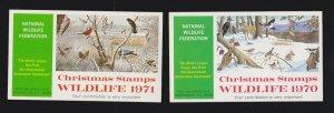 US 1970 & 1971 National Wildlife Federation Mint X-Mas Cinderella Stamp Booklets