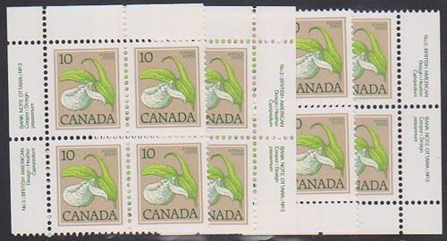 Canada USC #786 Mint 1979 10c Lady's Slipper Plate 3 MS VF-NH