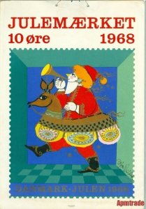 Denmark.1 Post Office,Display,Advertising Sign. Santa Music. Christmas Seal 1968