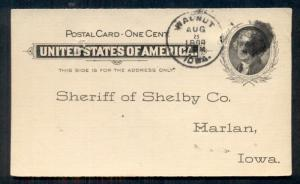 1899 WALNUT, IOWA on 1¢ card, to Sheriff (JURY NOTICE), spindle hole, VF