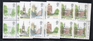 Great Britain Sc 910-14 1980 Palaces & Buildings  stamp set blocks of 4 mint NH