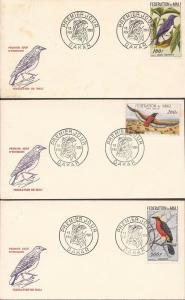 Mali - 1960 Birds - Set of 3 First Day Covers - Scott #C2-4