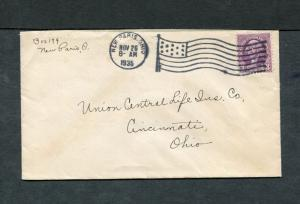 Postal History - New Paris OH 1935 American Flag AMF-A14 Cancel Cover B0571