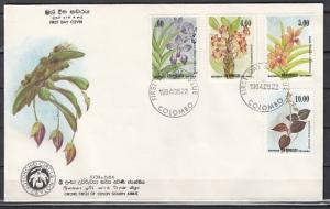 Sri Lanka, Scott cat. 722-725. Local Orchids issue. First day cover.
