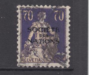 Switzerland Sc 2O24 used. 1925 70c Society of Nations overprint, sound
