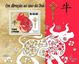 Stamps SÃO TOMÉ AND PRÍNCIPE 2020 - Year of the Ox. Block.