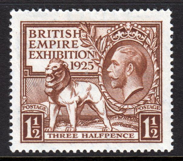 GB KGV 1925 British Empire Exhibition 1.5d Brown SG433 Mint Never Hinged MNH UMM