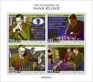 Mozambique 2021 MNH Chess Stamps Max Euwe Dutch Player Games Sports 4v M/S