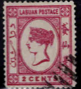 Labuan Scott 33 Used 1892 Queen Victoria stamp