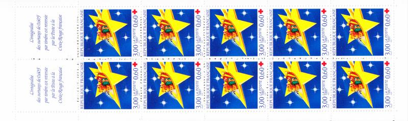 France Sc B683 1997 Booklet, Pane of 10 Christmas VF/NH(**)