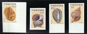 North Viet Nam - 1970 - Sc 581 - 584  - Shells - Imperforation - MNH