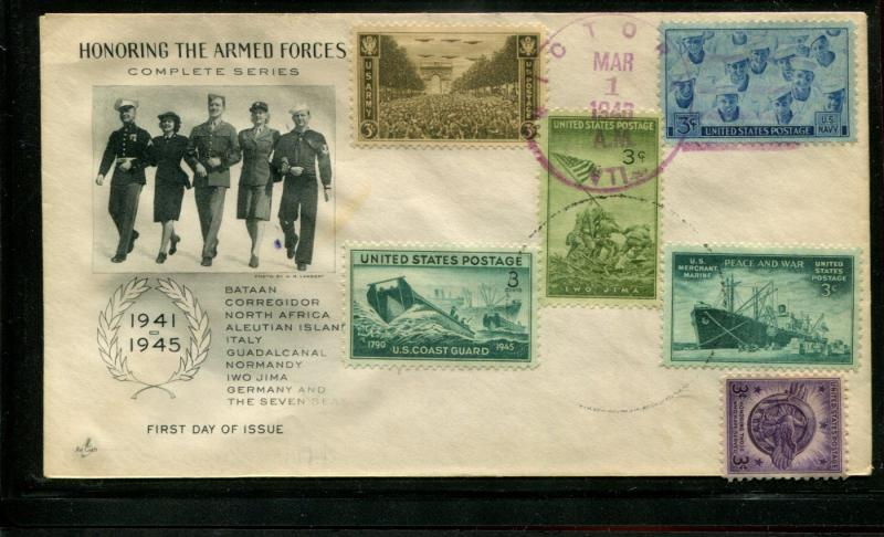 USA WWII Patriotic Cover:Honoring All US Armed Forces