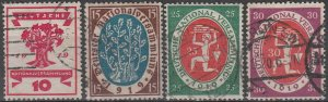 Stamp Germany Reich Mi 107-10 Sc105-8 1919 Set Weimer Emblems National Used