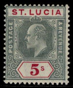 ST. LUCIA EDVII SG76, 5s green & carmine, LH MINT. Cat £85.