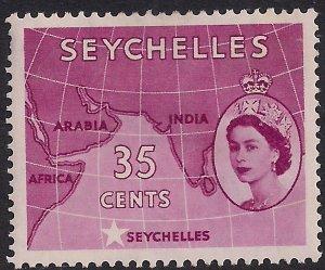 Seychelles 1954 - 61 QE2 35ct Crimson Indian Ocean MM SG 180a ( D1366 )