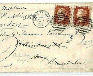 GB WALES Cover Cheltenham 1865 FORWARDED *Velinnewdd* Brecons 1d Plate 90 CS333
