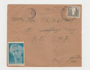 PALESTINE -R.E. CMF 1st CAMOUFLAGE DIV.1944+CHARITY LABEL, 10m RATE CENSOR COVER