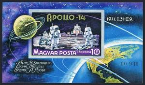Hungary C312 imperf,MNH.Michel 2661 Bl.80B. Space achievements 1971.Apollo 14.