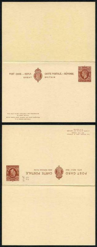 CP98 KGVI 1 1/2d Foreign Reply Card Mint Rare