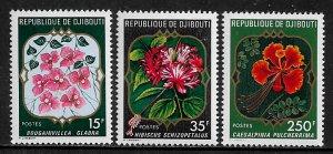 Djibouti #477-9 MNH Set - Flowers