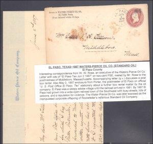 El Paso County El Paso with Oil Letter ( Postal History ), 1887