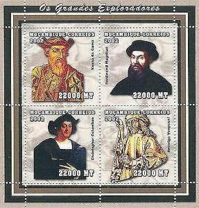 Mozambique - Famous Explorers - 4 Stamp  Sheet 1611