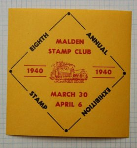 Malden Stamp Club MA MSC 1940 Philatelic SS Souvenir label Public Library