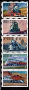 USA Scott 3333-3337 = 3337a MNH** Train Locomotive set in strip format