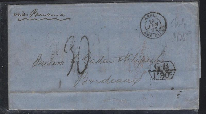 CHILE (PP2404B) STAMPLESS COVER  BRITISH POST OFFICE 182 VIA PANAMA TO FRANCE