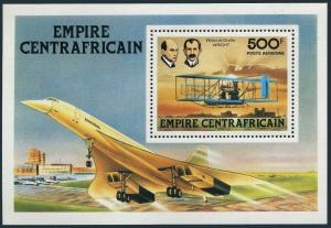 Central Africa C199,MNH.Michel Bl.32. Brothers Wright,plane,Concorde,1978.
