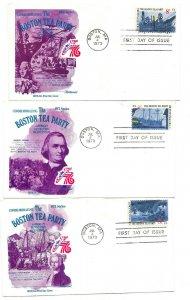 1480-83 Boston Tea Party American Revolution, Fleetwood, set of 4 FDCs