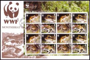Montserrat WWF Mountain Chicken Frog FDC Sheetlet of 4 sets 2006