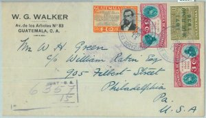 86026 - GUATEMALA - POSTAL HISTORY -   REGISTERED  COVER to USA 1937  - TRAINS
